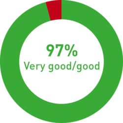 Graphic: Visitor's overall assessment 97% very good/ good